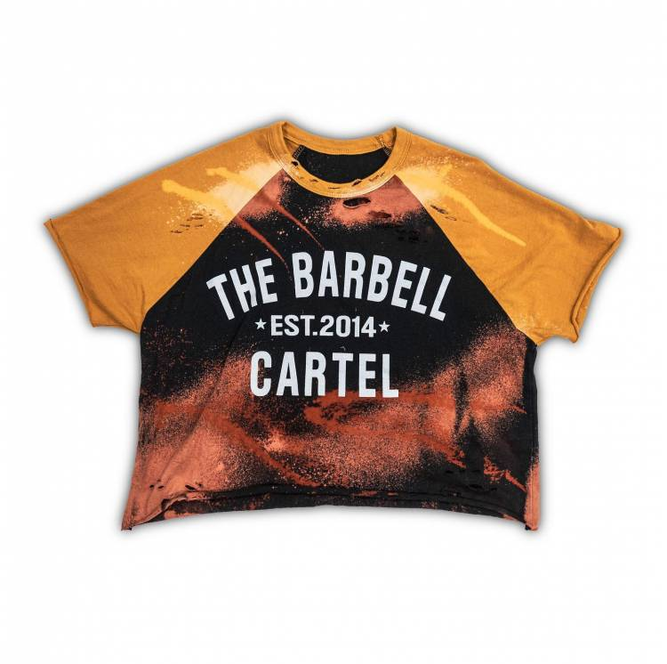 Crop Tee Classic Logo Distressed Baseball - The Barbell Cartel femme sport boutique snatched vêtements