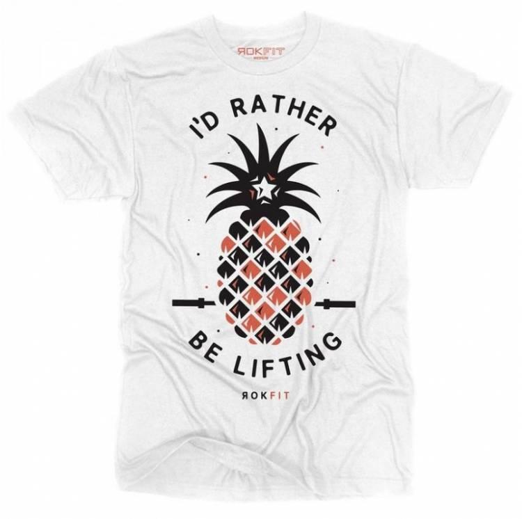 T-shirt Homme I'D RATHER BE LIFTING (Blanc) - Rokfit boutique vetement crossfit