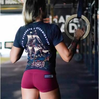 "Booty Short ""Merlot"" - Rokfit. Vetement femme sport crossfit boutique snatched"