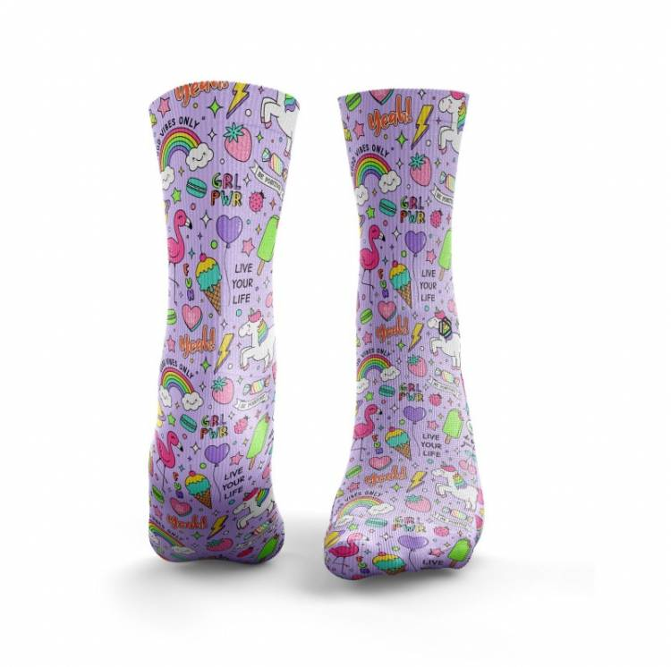 Chaussettes multicolores GIRL POWER - HEXXE SOCKS. Boutique snatched training sport socks