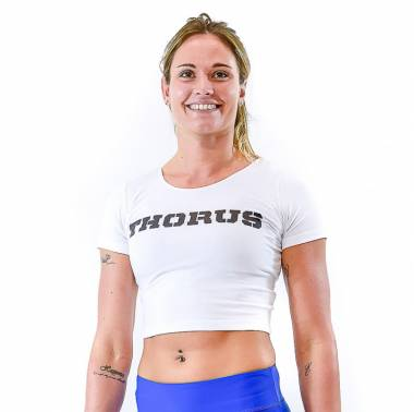 t-shirt-court-white-encolure-large-women crop top femme crossfit vêtement blanc