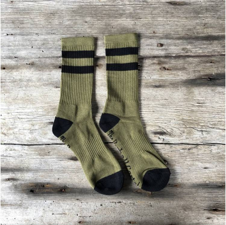 Chaussettes crossfit Olive Green / Black 2 Stripes Crew Sock - The Barbell Cartel