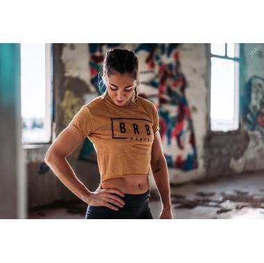 Crop Top crossfit BRBL Crop Tee Gold - Barbell Cartel. Boutique vêtements femme snatched