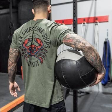 T-shirt homme crossfit - Rokfit modèle weak-grips-sink-ships. Boutique Snatched vêtements hommes Crossfit